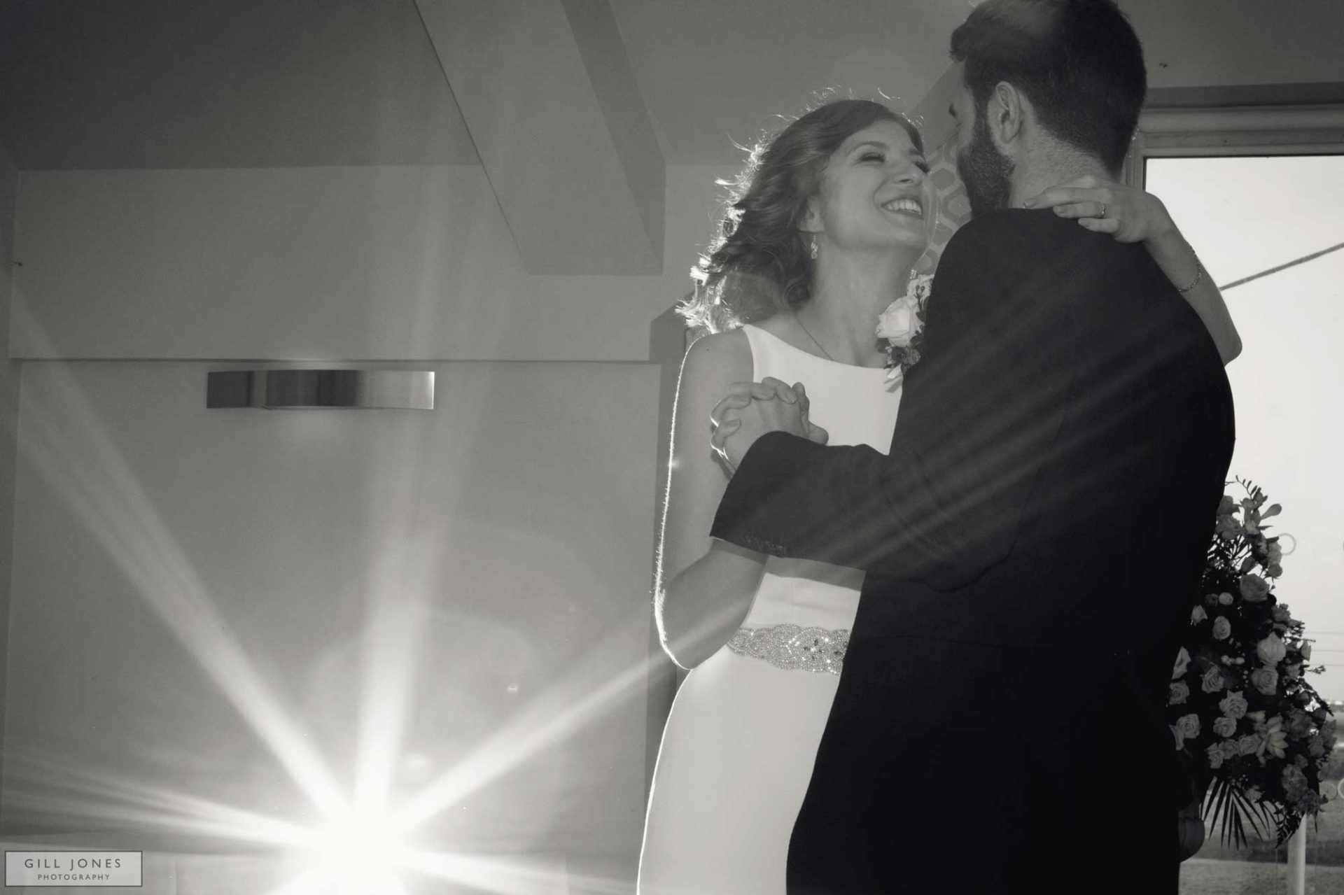 Bride and groom dancing their first dance at the trearddur bay hotel