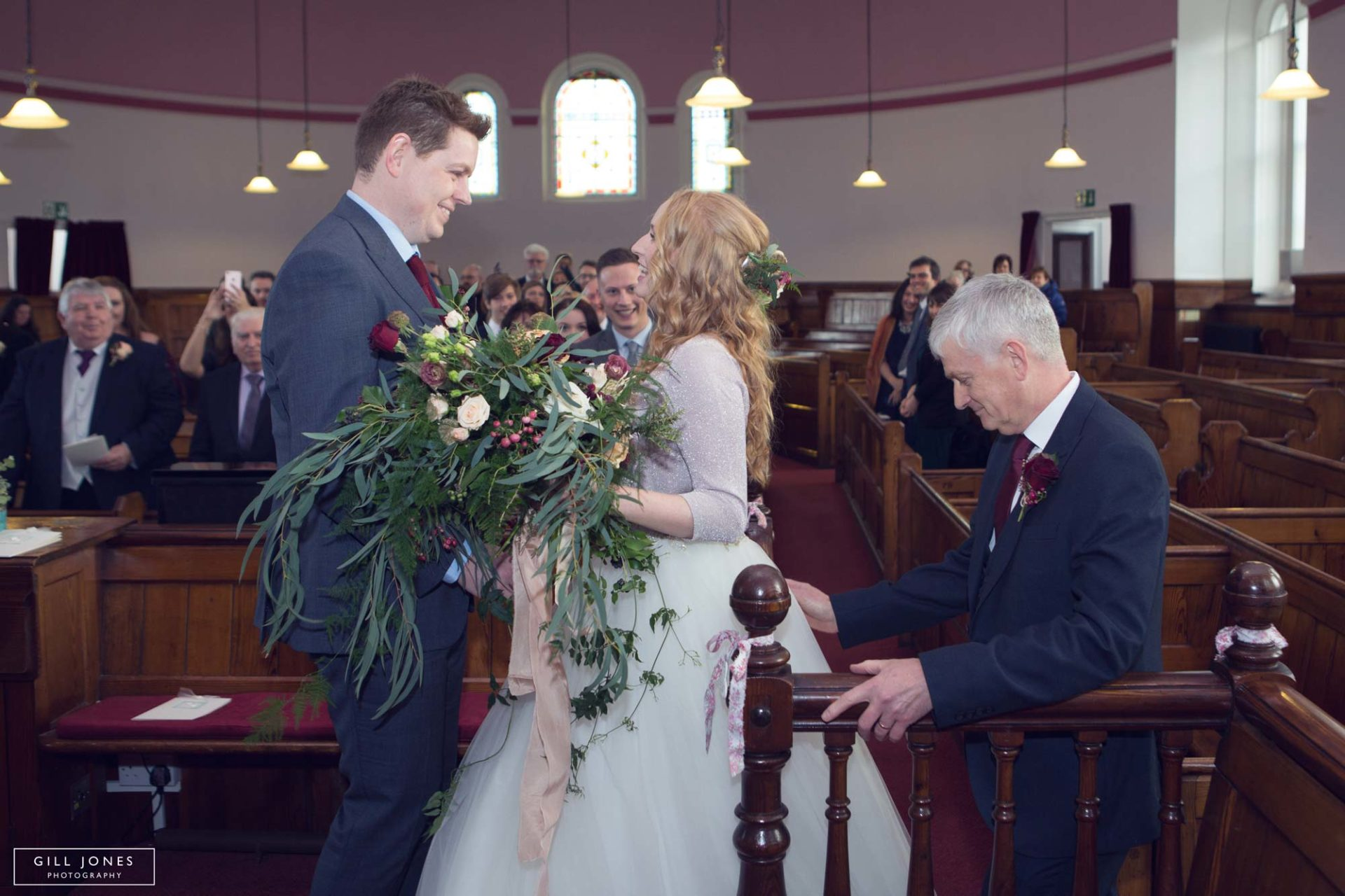 the groom sees his bride