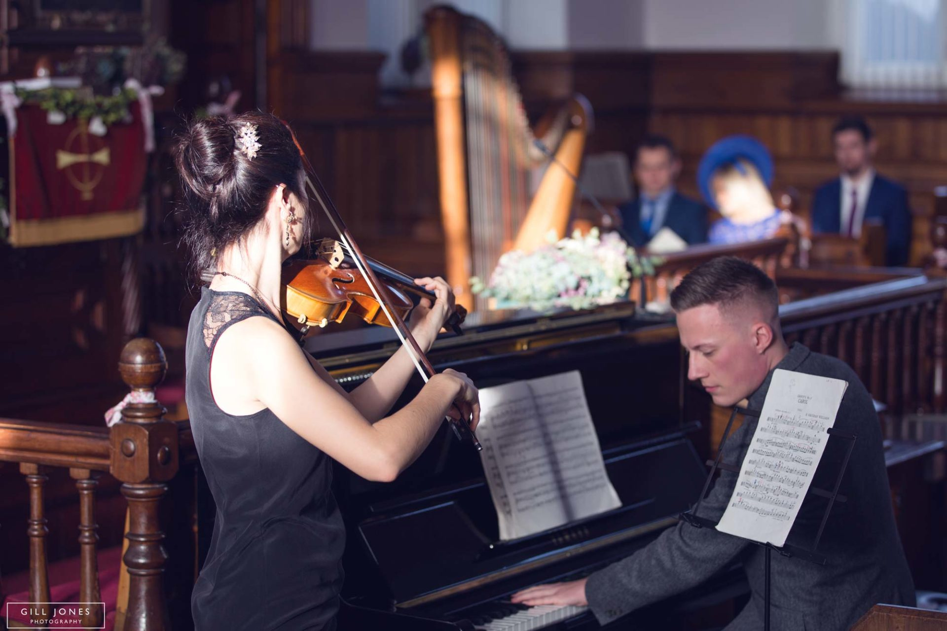 a violinist plays