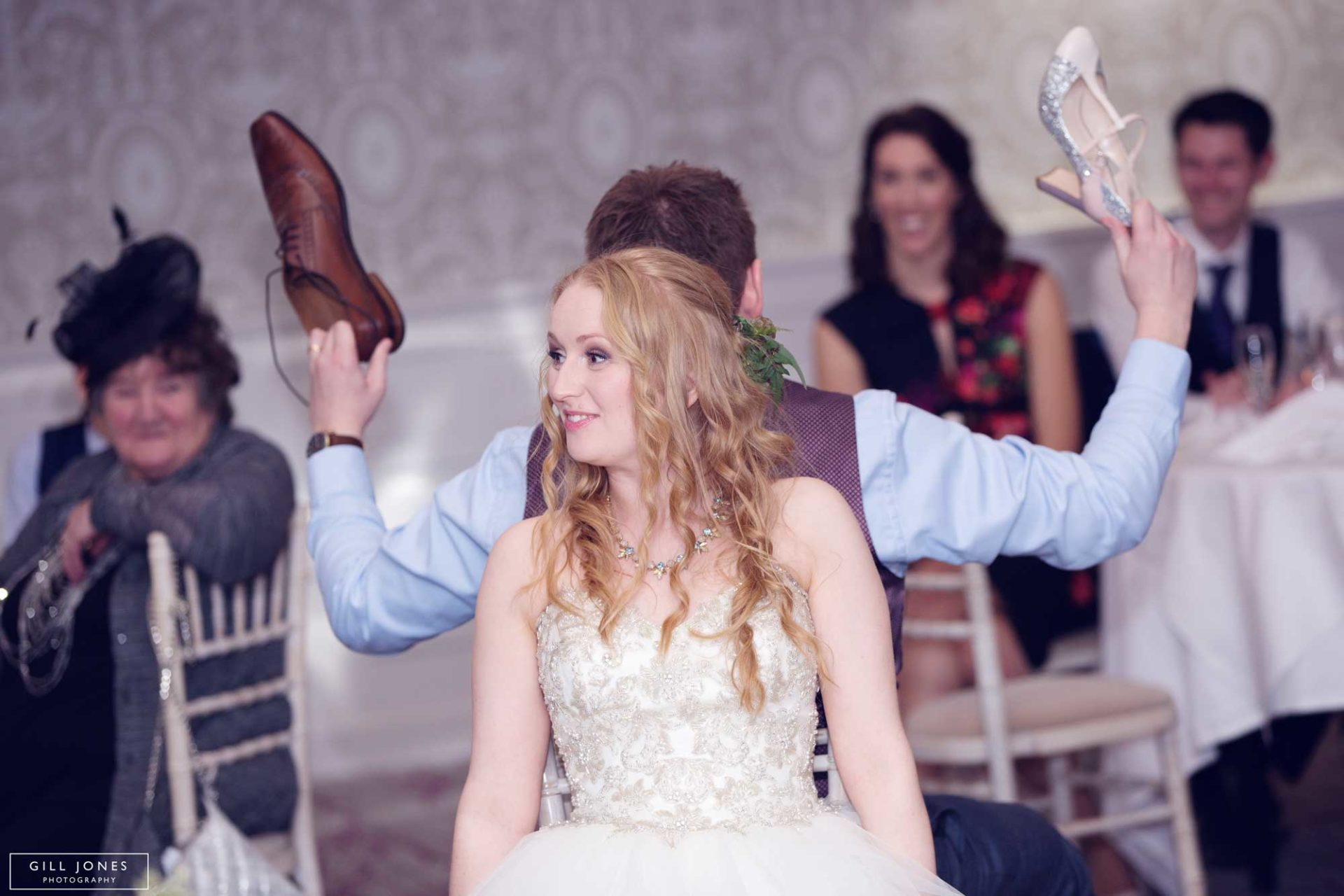 the bride and groom play parlour games